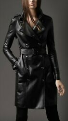 Women Black Genuine Real Leather Knee Length Trench Coat