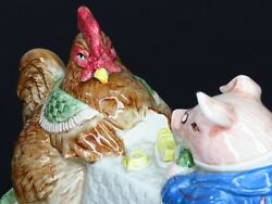 1987 Fitz And Floyd Pig Rooster Butter Dish Covered Vintage Bacon Eggs Hen Japan