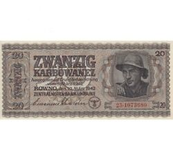 Unc.20 Karbovanets Of 1942 The Reich Commissariat. Copy Banknoty. .very Rare