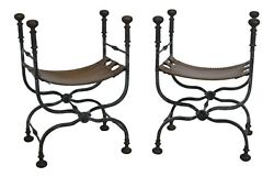 48564ec Pair Iron Base Leather Seat Decorative Fold Up Benches