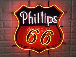 New Phillips 66 Gasoline Artwork Lamp Light Neon Sign 19 With Hd Vivid Printing
