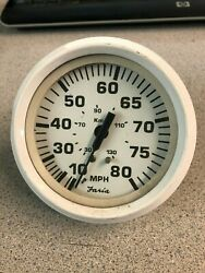 Used Outboard Faria Speedometer Gauge 0-80 Mph