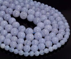 Chalcedony Blue Lace Agate Gemstone Grd Aaa Round 6mm 8mm 10mm Loose Beadsa271
