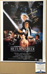 Dave Prowse Darth Vadar Signed Star Wars Return Of The Jedi Photo 12x16 Beckett