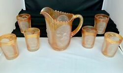 Imperial Glass Marigold Frosted Oval Windmill Water Set Includes Pitcher And 6
