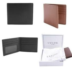 LXY & Co. Classic Natural Top Grain Leather RFID Blocking Men's Bifold Wallet