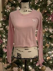 Victoria Secret Pink Xs Pink Crop Campus Shirt💫new With Tags✨super Fast Ship⭐️