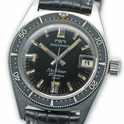 Technos Sky Diver 1903.2-68 Automatic Vintage Watch 1960and039s Overhauled