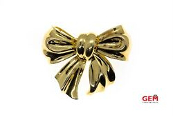 Big Flowy Gift Bow Brooch Solid 18k 750 Yellow Gold Designer Lapel Pin