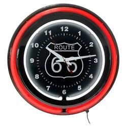 15 Route 66 Circular Neon Wall Clock With Pull Chain, Red/black And Blue White