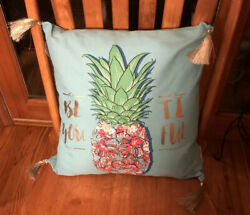 Simply Southern 18x18 Throw Pillow Aqua Pineapple New With Tags