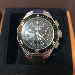 Baume And Mercier Riviera Diver 200 65599 Black Analog Menand039s Watch Used Excellent