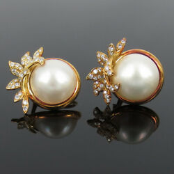 Vintage 1.50ct Diamond And 16mm Mabe Pearl 18k Yellow Gold Earrings