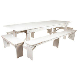 9' X 40'' Rectangular Antique Rustic White Folding Farm Table With 4 Bench Set