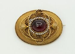 Truly Beautiful And Excellent Cond Victorian 14k Garnet Pearls Brooch Pendant
