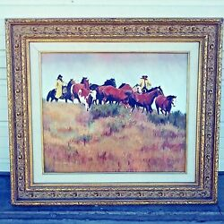 Fall Round Up Western Painting By Barbara Jean Sullivan 1935-2019