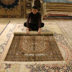 Yilong 4'x6' 300lines Vintage Area Rug Medallion Hand Knotted Silk Carpet L954h