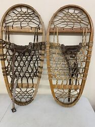 """Vintage Bear Paw Style Wooden Snowshoes 12"""" X 28"""" Usa Oval"""