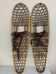 """Vintage Northwoods Brand Safesport Wooden Snowshoes 10"""" X 36"""" Canada 1"""