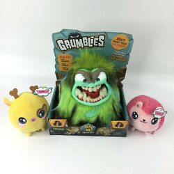 Grumblies Tremor Green Plush And 2pk Squeezamals Toy Bundle Ages 3+ Brand New