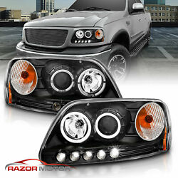 1997-2003 For Ford F-150 Led Halo Ring Projector Black Headlights