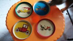 4 Old Vintage Tin Round Small Size Car's Coaster Plates From India 1960