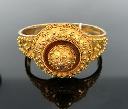 Antique 1800's Hand Decorated 14k Yellow Gold Hinged Studded Bangle