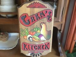 Wooden Chicken Carved Farmhouse Sign Country Kitchen Decor Older Piece