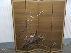 Antique Asian Silk Screen / Hand Painted Room Divider