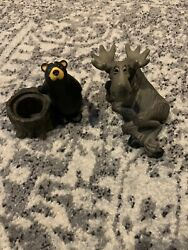 Lot Retired Rare Big Sky Carvers Bearfoots Relaxing Moose And Kritter Hollows Bear