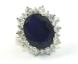 Huge Oval Blue Sapphire And Diamond Halo Solitaire Ring 14k White Gold 11.67ct