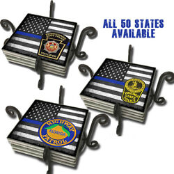 State Police Highway Patrol Thin Blue Line Flag 50 States Coasters Set Of Four
