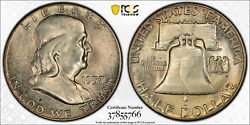 1957 Franklin Half Dollar Pcgs Ms65 Bu Toned Coin With True View