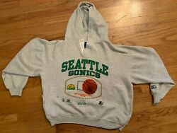 Vintage Starter Seattle Supersonics NBA 90s Grey Sweatshirt Large Embroidered
