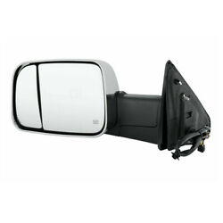 15-18 Ram 2500/3500 Tow Mirror Power Heat W/signal Puddle Lamp Chrome Left Side