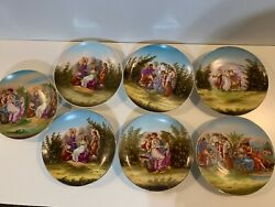 Antique Victoria Carlsbad Austria Porcelain Set Of 7 Painted Scenic Wall Plates