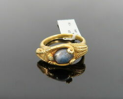 Antique 1800's 1.30ct Iolite And 22k Solid Yellow Gold Etruscan Ram Ring