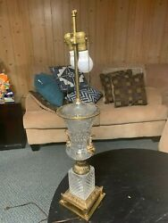 Antique Crystal And Brass Urn Lamp Bacchus Accents Midcentury Warren Kessler Ny