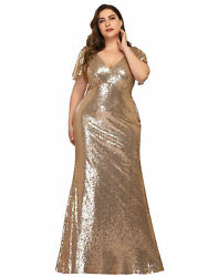 Ever-Pretty US Plus Size Sequins Long Evening Dress Bodycon Party Celebrity Gown