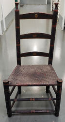 Early 19th Century Carved And Painted Side Chair W/ Woven Seat