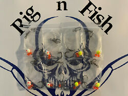 8 Fluorocarbon Surf / Pier Fishing Rigs For Pompano Whitings Flounder Spots..