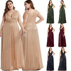 Ever-Pretty US Plus Size V-neck Long Evening Prom Dresses Holiday Celebrity Gown