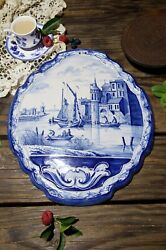 Antique Blue And White Dutch Delft Pottery Tile Wall Plaque With Canal Scene 14andrdquo