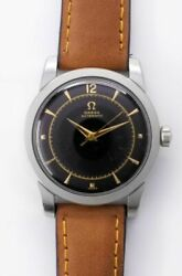 Omega Black Gilt Dial 2767-3c Automatic Vintage And039watch 1952and039s Overhauled
