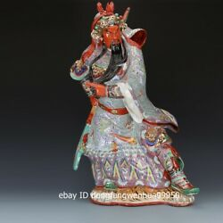 Porcelain Pottery Hand Painted Chinese Famous Warrior Guan Gong Guanyu Statue