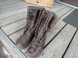 US WWII Airborne Jump Boots Originals Russet Leather WWII NAMED  (8 12 D)