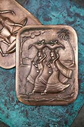 Pair Of Vintage Hand-tooled Middle-eastern Indian Repousse Copper Wall Plaque