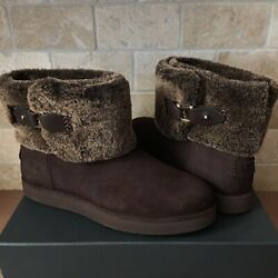 Ugg Classic Berge Mini Dark Roast Suede Shearling Ankle Boots Size Us 8 Womens