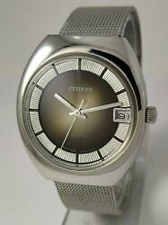Nos Vintage Citizen 63-1752 Hand Winding Watch Cal1800 With Date Brown Dial70's