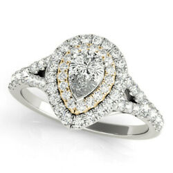 New Ladies 14k Two-tone Gold Semi-mount Diamond Pear Cut Halo Engagement Ring